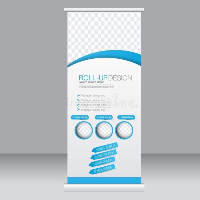 卷起横幅立场模板 设计的,事务,教育,广告抽象背景 蓝色颜色 传染媒介illustrati 向量例证