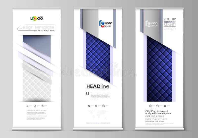 卷起横幅立场,平的设计模板,企业概念 皇族释放例证