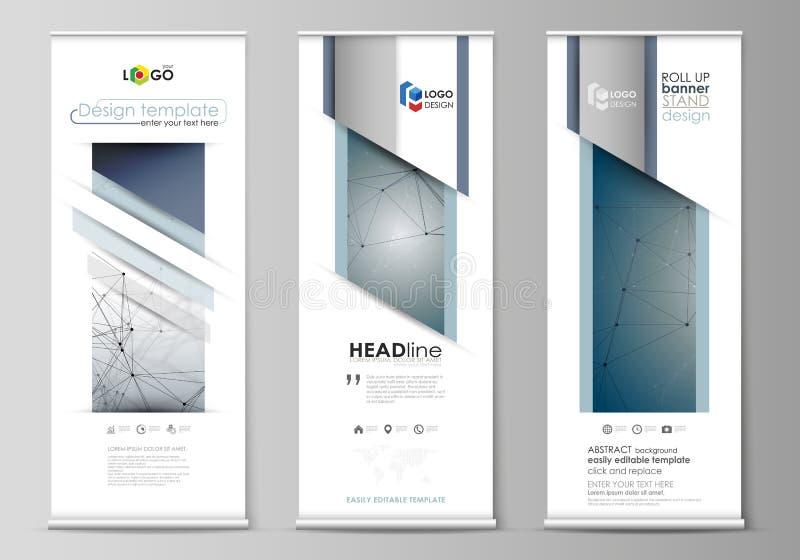 卷起横幅立场,摘要几何设计,企业概念,公司垂直的传染媒介飞行物,旗子布局 脱氧核糖核酸 皇族释放例证