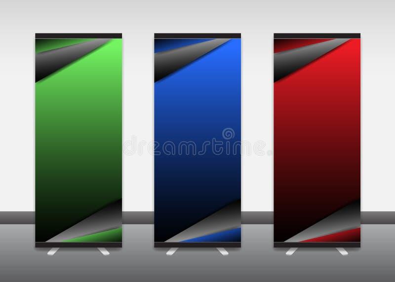 卷起横幅,信息,颜色,广告,陈列台 向量例证
