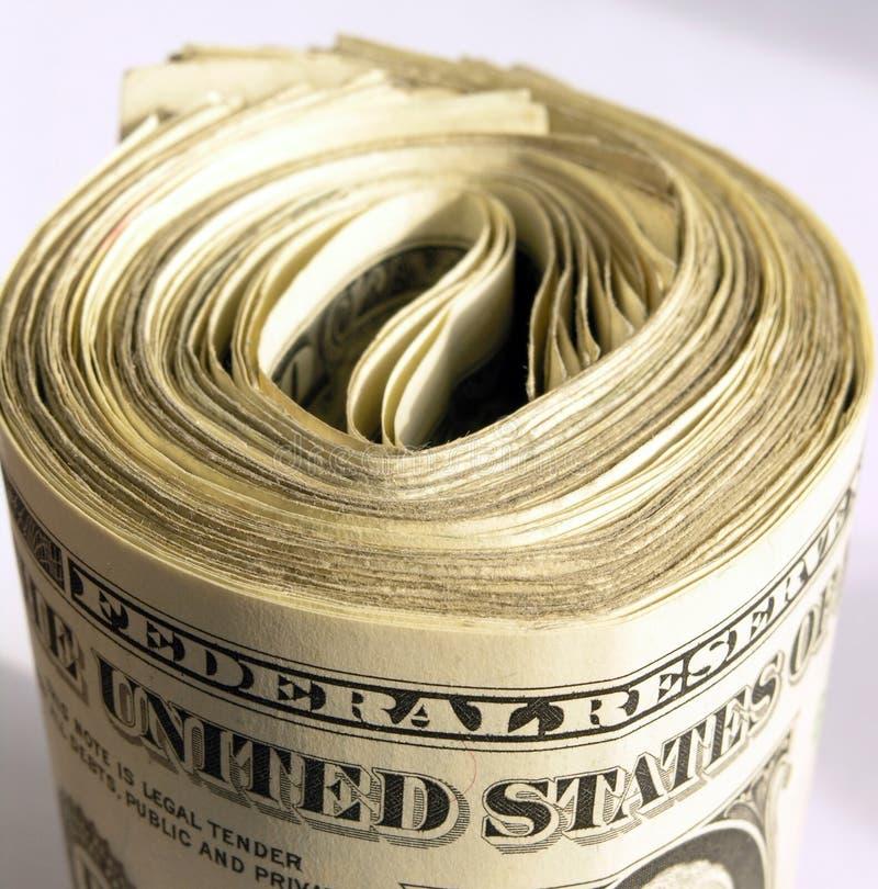 卷起的美元 免版税库存照片
