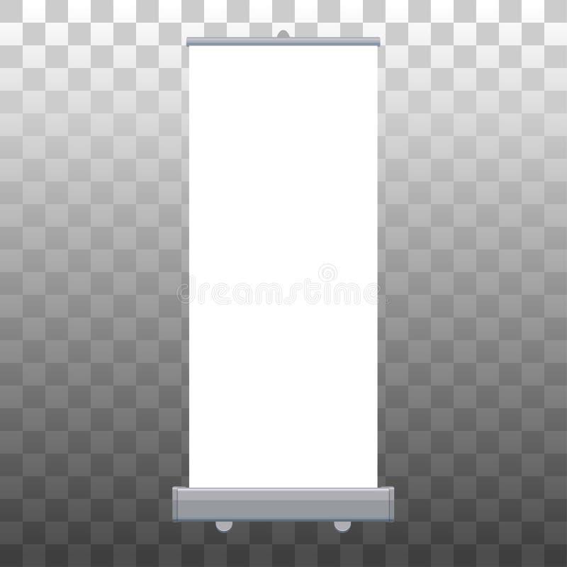 卷起被隔绝的横幅 介绍或陈列产品的传染媒介空的显示大模型 垂直的空白卷起 库存例证