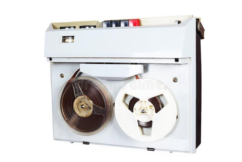 卷轴在表的录音机 免版税库存照片