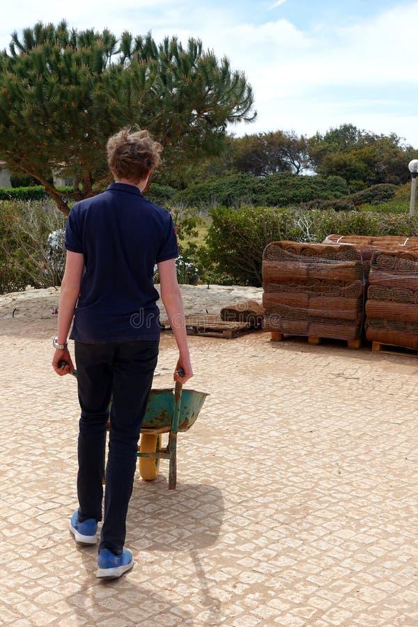 卸载草皮的卷男孩 库存照片