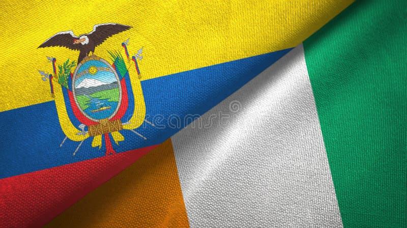 厄瓜多尔和科特迪瓦象牙海岸两旗子织物纹理 向量例证