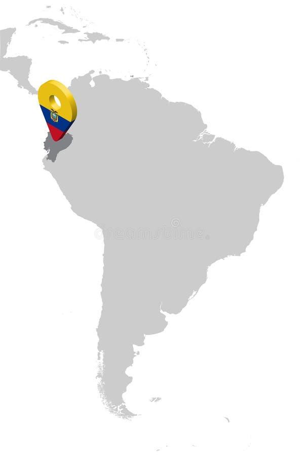 厄瓜多尔在地图南美洲的定位图 3d厄瓜多尔旗子地图标志地点别针 厄瓜多尔的优质地图 向量例证