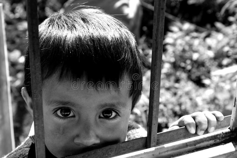 厄瓜多尔孩子的黑白画象 库存照片