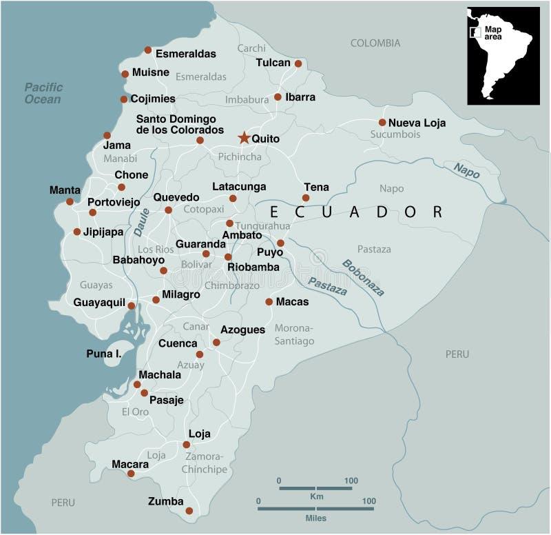 厄瓜多尔映射 库存例证