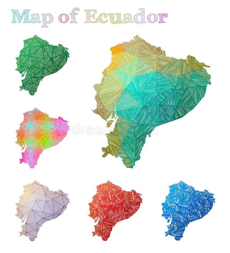 厄瓜多尔的手拉的地图 库存例证