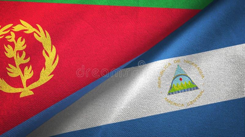 厄立特里亚和尼加拉瓜两旗子纺织品布料,织品纹理 皇族释放例证