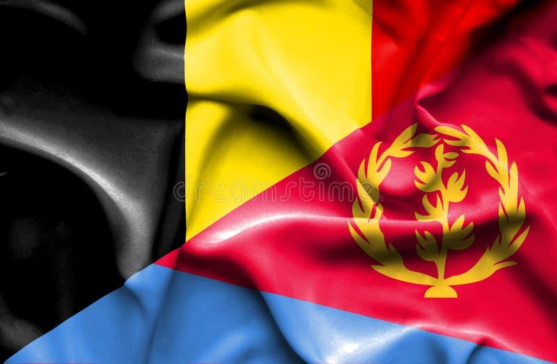 厄立特里亚和比利时的挥动的旗子 库存例证