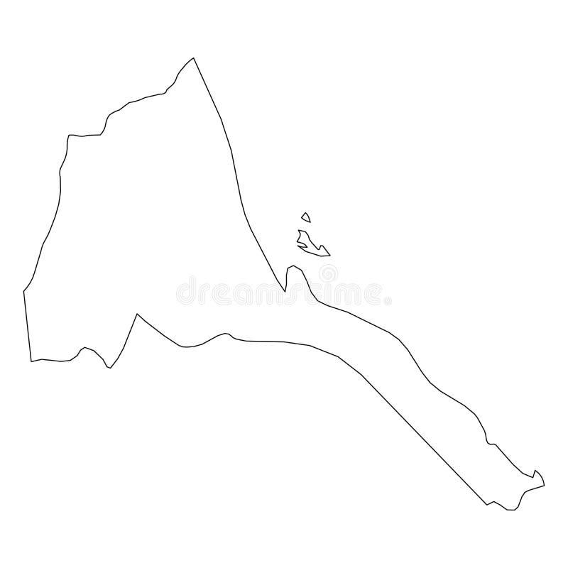 厄立特里亚-国家区域坚实黑概述边界地图  简单的平的传染媒介例证 库存例证