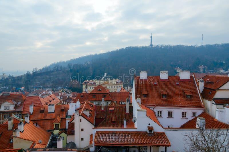 历史中心的布拉格,佩特林小山,捷克顶视图  库存照片