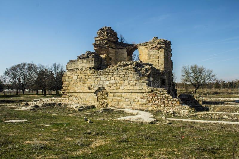 历史从土耳其爱迪尔内的遗物墙壁 库存照片