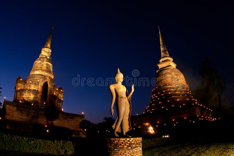历史公园sukhothai泰国微明 免版税库存照片