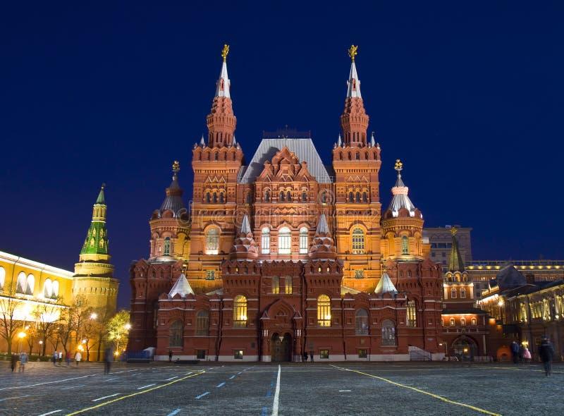 历史博物馆在晚上,莫斯科 免版税图库摄影
