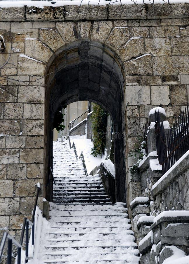 历史台阶在力耶卡,克罗地亚 免版税图库摄影