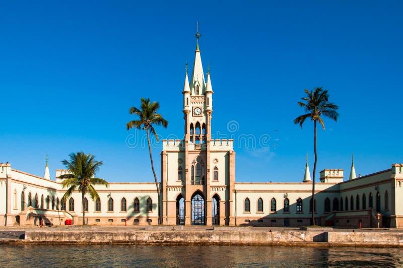 历史哥特式样式宫殿在财政海岛 库存图片