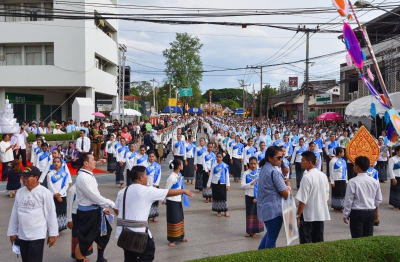 历史图片市的仪式Loei 跳舞女神,进拜女神Kud Pong并且崇拜 库存照片
