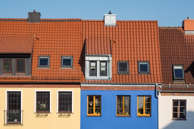 历史大厦在城市罗斯托克,德国 免版税图库摄影