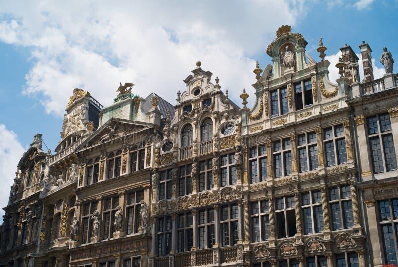 历史大厦在重创的地方在布鲁塞尔 免版税库存图片