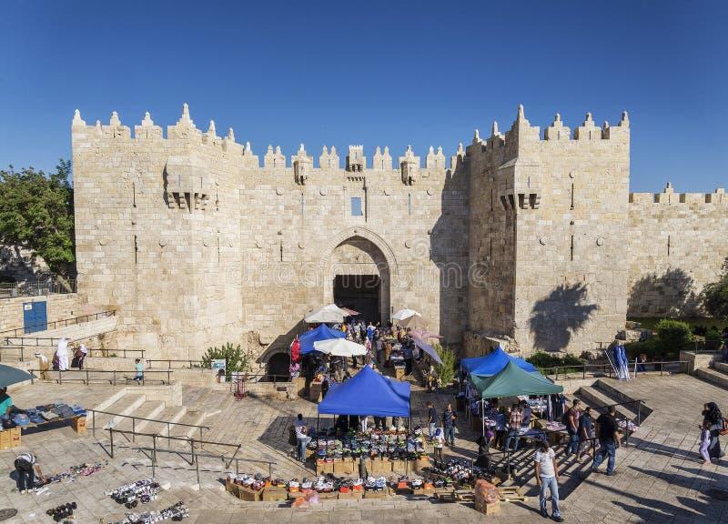历史大马士革门在耶路撒冷以色列 免版税图库摄影