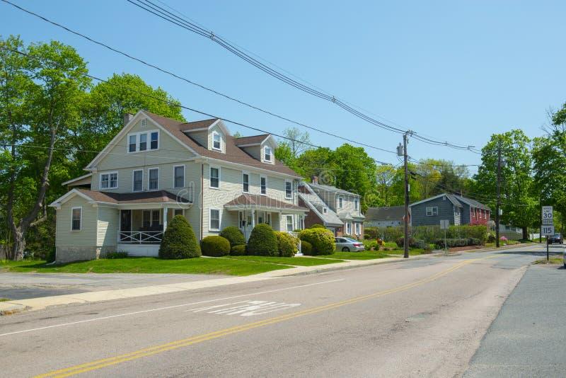 历史建筑在米利斯,马萨诸塞,美国 免版税库存照片