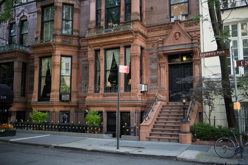 历史建筑在Gramercy公园,曼哈顿,纽约 免版税库存照片
