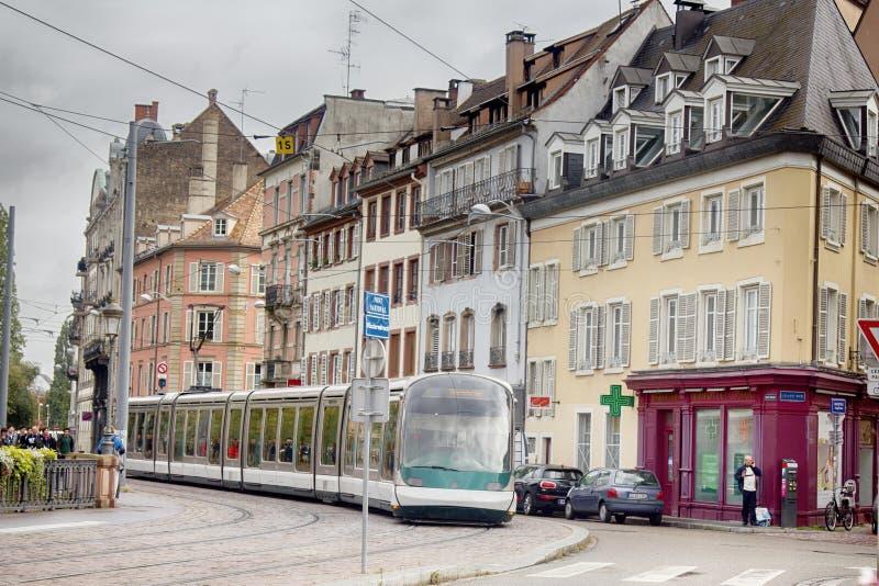 历史建筑的斯特拉斯堡老城街 免版税库存照片