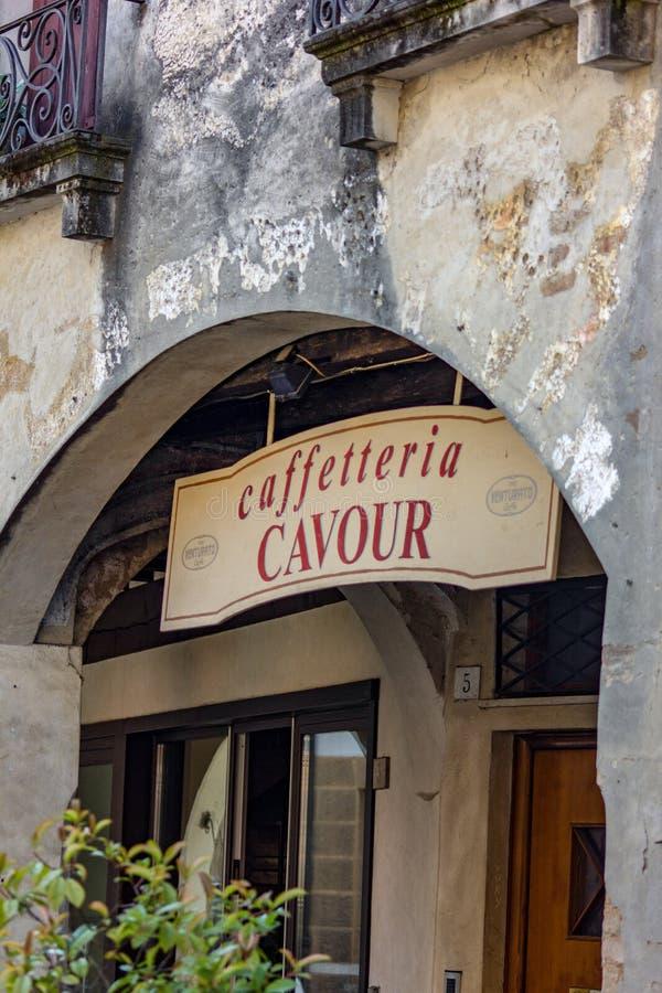 历史建筑细节在特雷维索的中心 充分一美丽的镇历史和有很多美丽的大厦 免版税库存照片