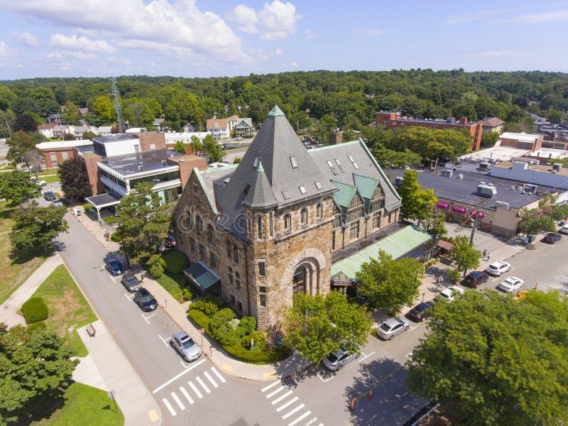 历史建筑鸟瞰图牛顿,MA,美国 免版税库存照片