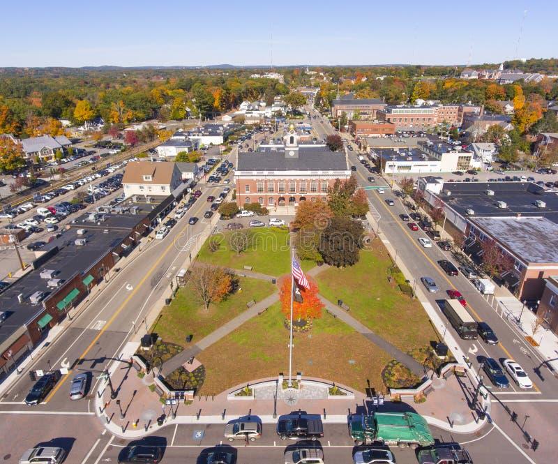历史建筑鸟瞰图牛顿,MA,美国 库存图片