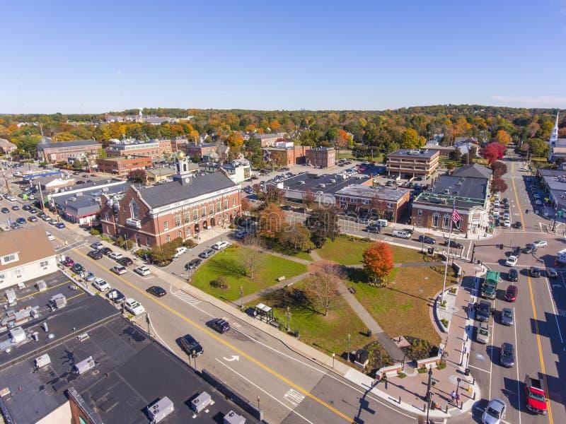 历史建筑鸟瞰图牛顿,MA,美国 免版税图库摄影