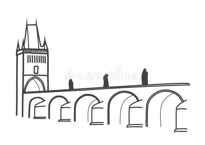 历史查理大桥布拉格图画  库存例证