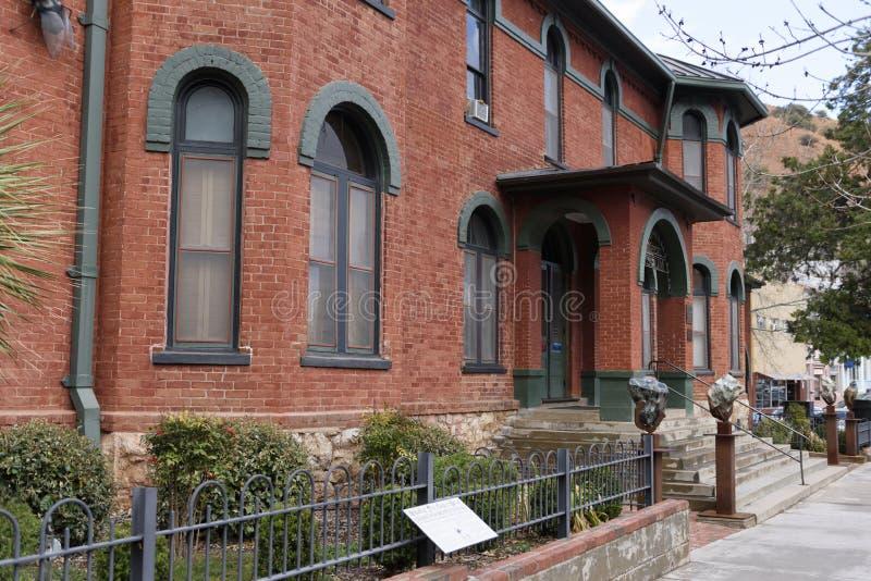历史比斯比采矿历史博物馆的砖瓦房 免版税库存图片