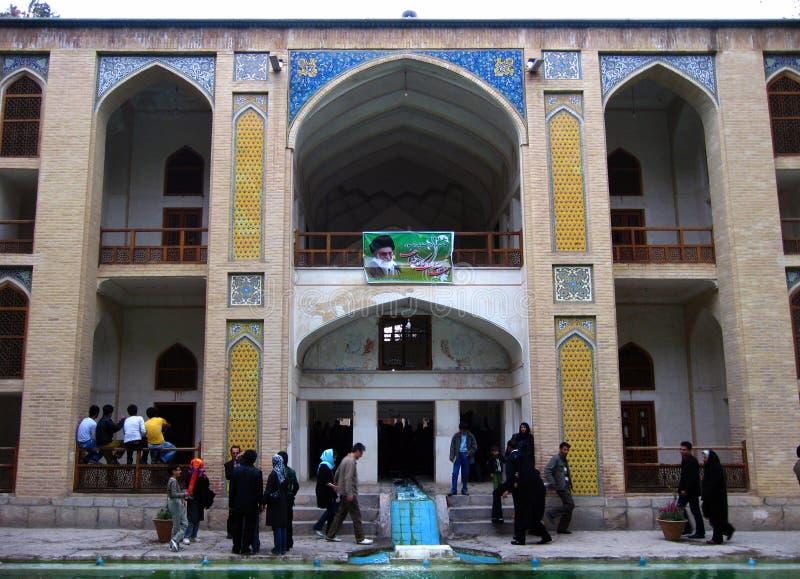 历史波斯飞翅庭院在喀山,伊朗 免版税库存照片