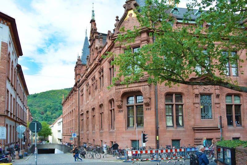 历史海德堡大学图书馆 免版税库存照片