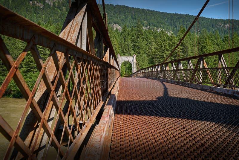 历史的亚历山德拉桥梁,不列颠哥伦比亚省,加拿大 免版税库存照片