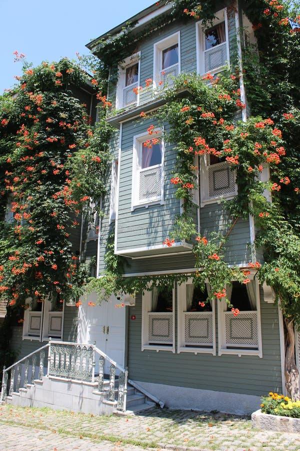 历史的伊斯坦布尔房子 历史的房子的图象在伊斯坦布尔土耳其的sultanahmet区 老牌土耳其大厦 免版税库存照片