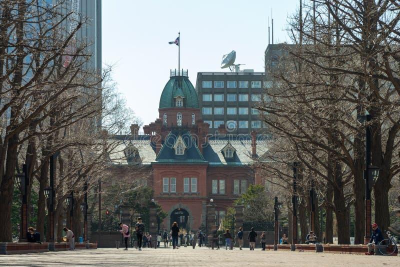 历史的前北海道政府机关在札幌,北海道,日本 这个地方是普遍的旅客作为phot 免版税图库摄影