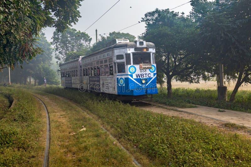 历史的加尔各答电车通过加尔各答Maidan地区移动在一个有雾的冬天早晨 免版税库存照片