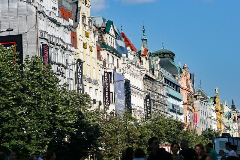 历史的卡洛维变化连栋房屋,捷克 免版税库存图片