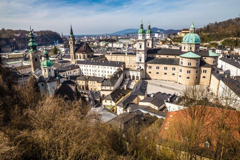 历史的城市萨尔茨堡,奥地利的都市风景 库存图片
