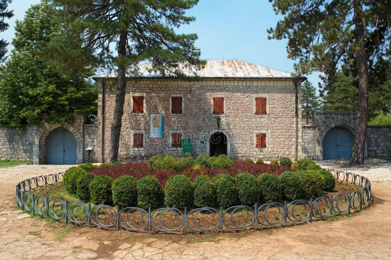 历史的堡垒Biljarda在城市采蒂涅的中心 库存图片
