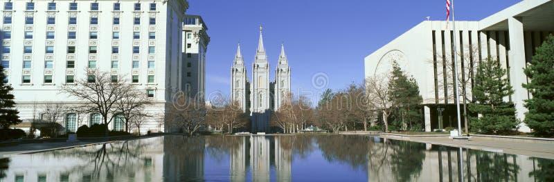 历史的寺庙和正方形在盐湖城, UT回家摩门教临时房屋唱诗班 库存图片