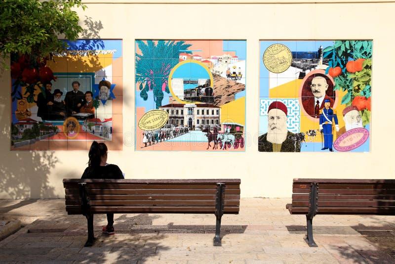 历史的尼夫Tzedek邻里,特拉唯夫,以色列 库存图片