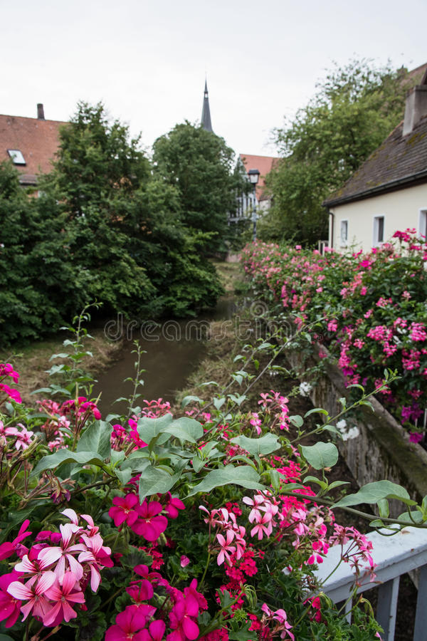 历史的市中心在施瓦巴赫 免版税库存图片