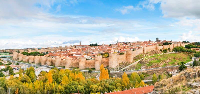 历史的市阿维拉,卡斯蒂利亚y利昂,西班牙 免版税库存照片
