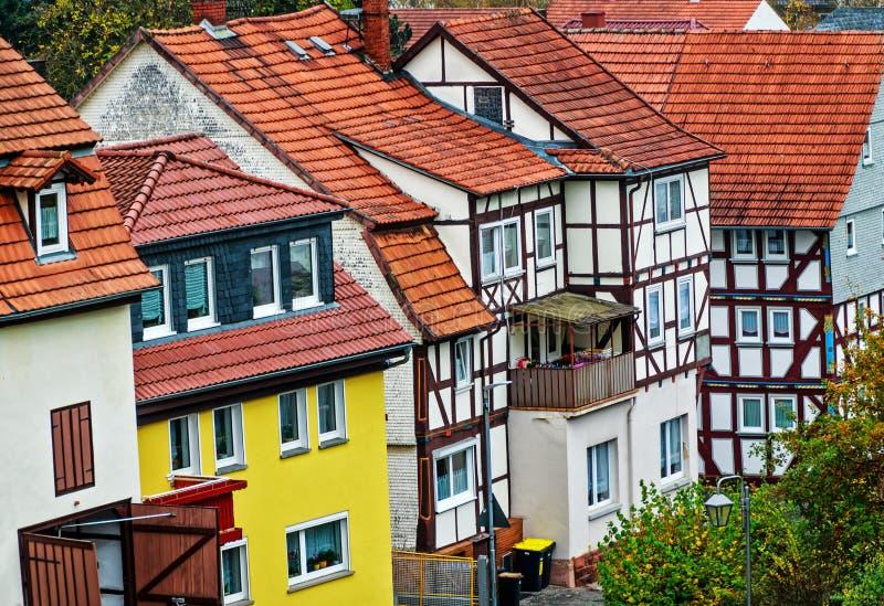 历史的房子行在老镇Schlitz福格尔斯贝尔格,德国 库存照片