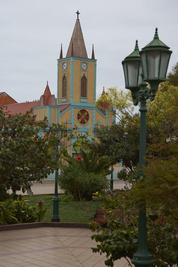 历史的教会在Taltal,北智利 库存图片